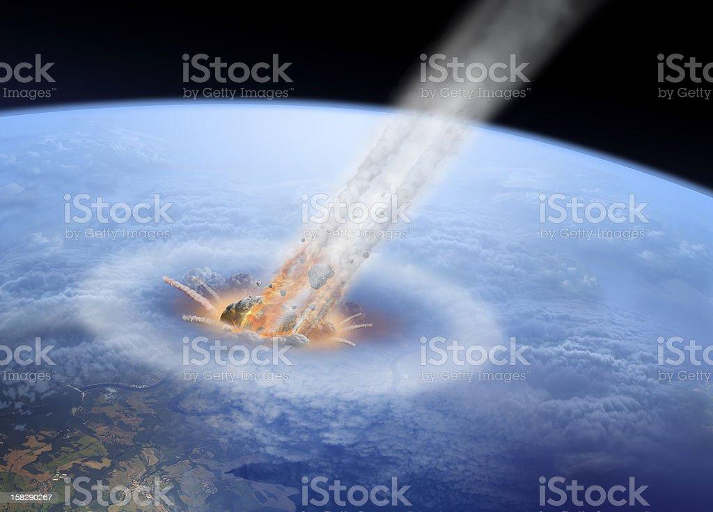 Asteroid impact on Earth vector art illustration