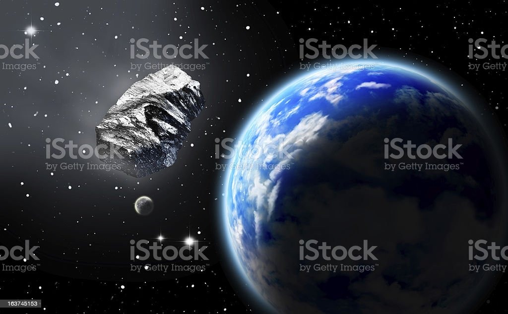 Asteroid in space approaching earth vector art illustration