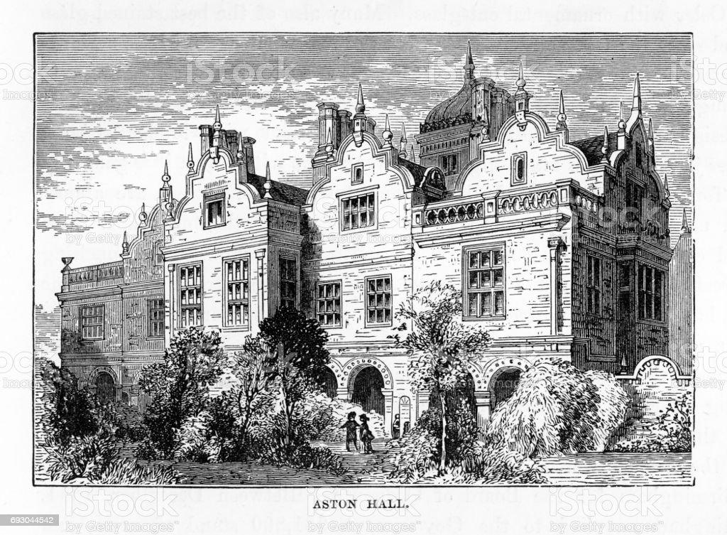 Aston, Aston Hall, Birmingham, Midlands, England Victorian Engraving, 1840 vector art illustration