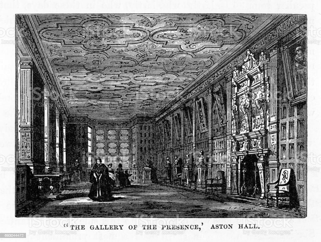 Aston, Aston Hall, The Gallery of the Presence, Birmingham, Midlands, England Victorian Engraving, 1840 vector art illustration