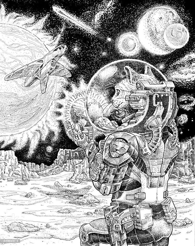 Astro cat vector art illustration
