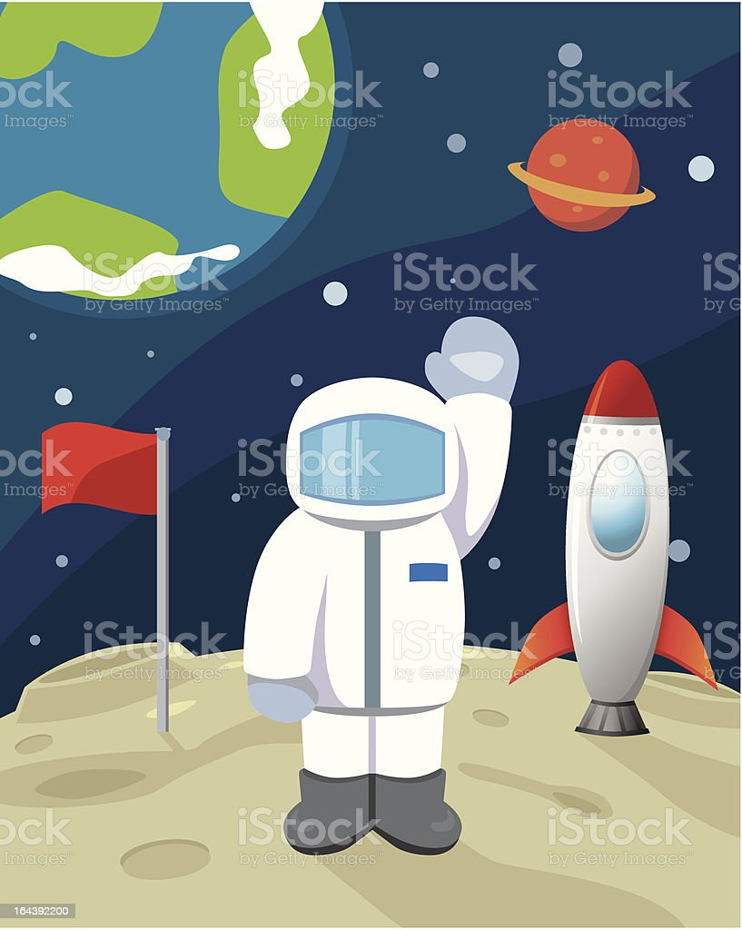 Astronaut at moon royalty-free stock vector art