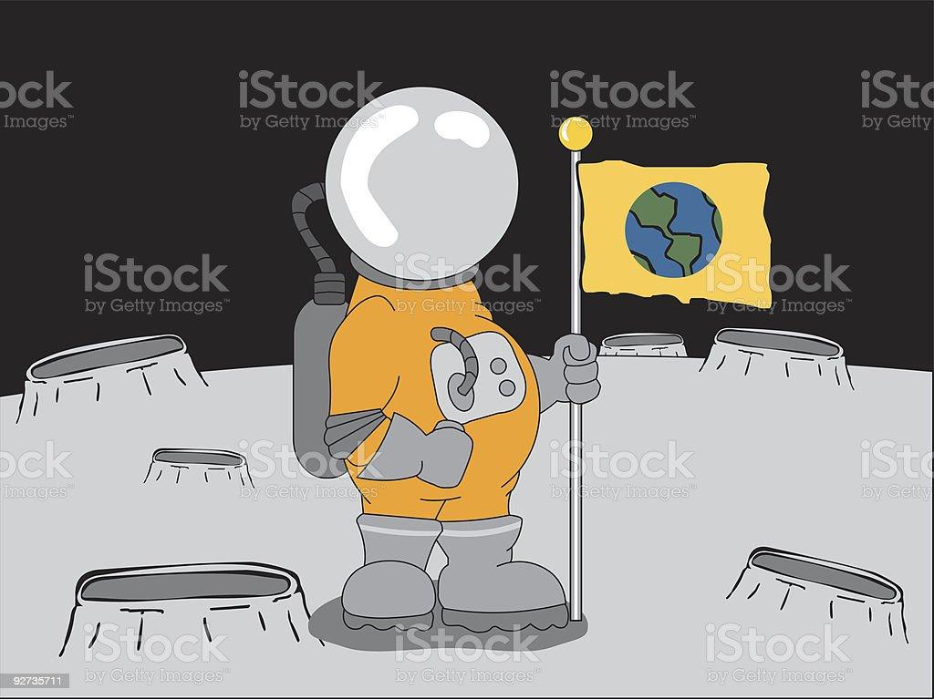 Astronaut holding flag royalty-free stock vector art