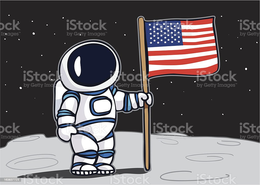 Astronaut planting flag on the moon royalty-free stock vector art