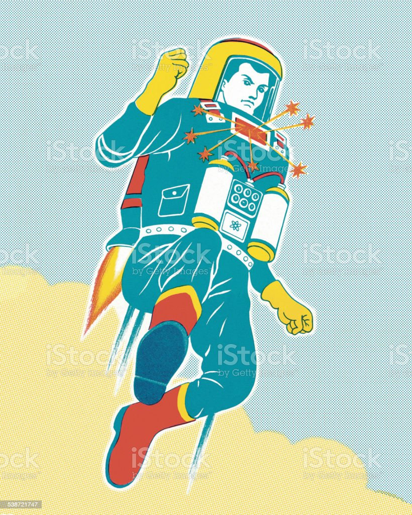 Astronaut with a Jet Pack vector art illustration
