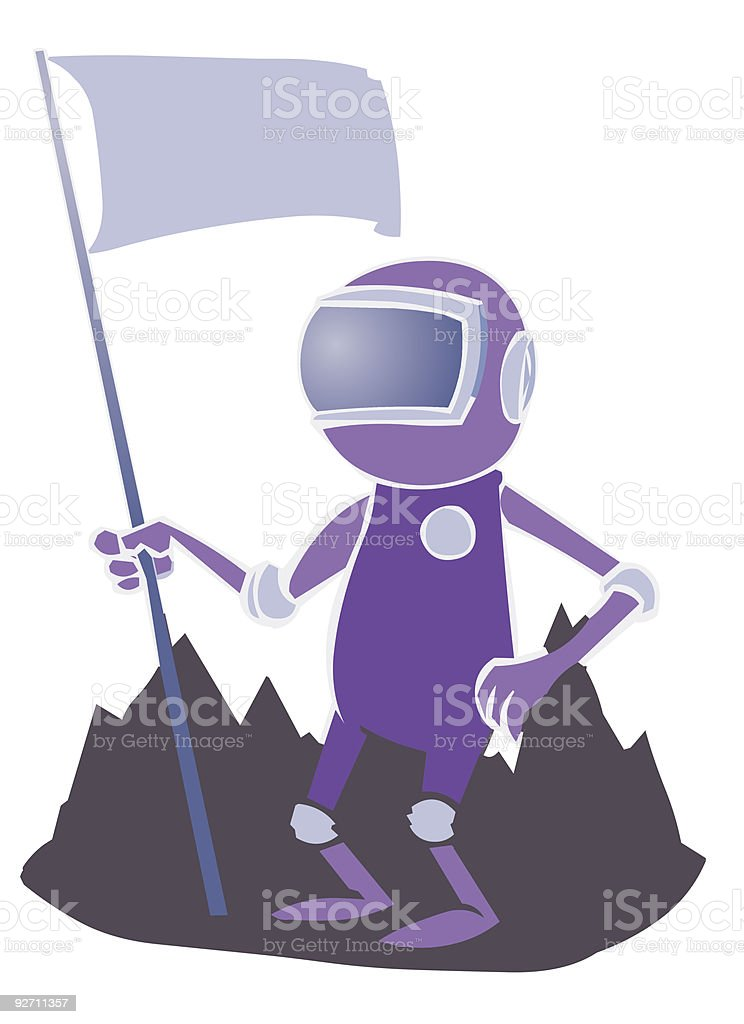 Astronaut with Flag royalty-free stock vector art