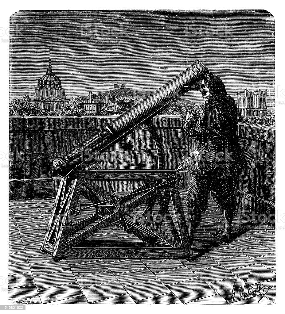 Astronomer with Newtonian or Gregorian telescope vector art illustration