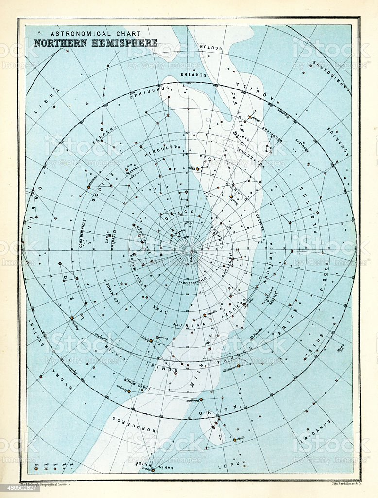 Astronomical Chart - Northern Hemisphere vector art illustration