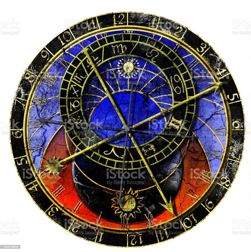 astronomical clock in grunge style royalty-free stock vector art