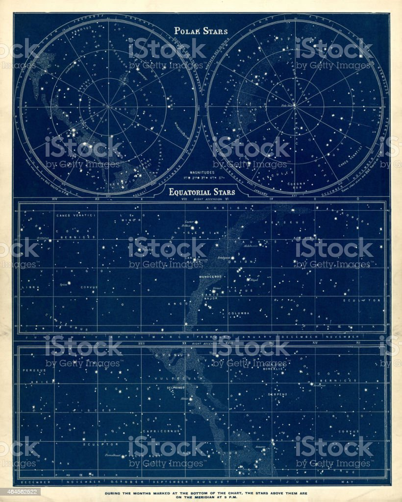 Astronomy chart - Polar and Equatorial Stars vector art illustration