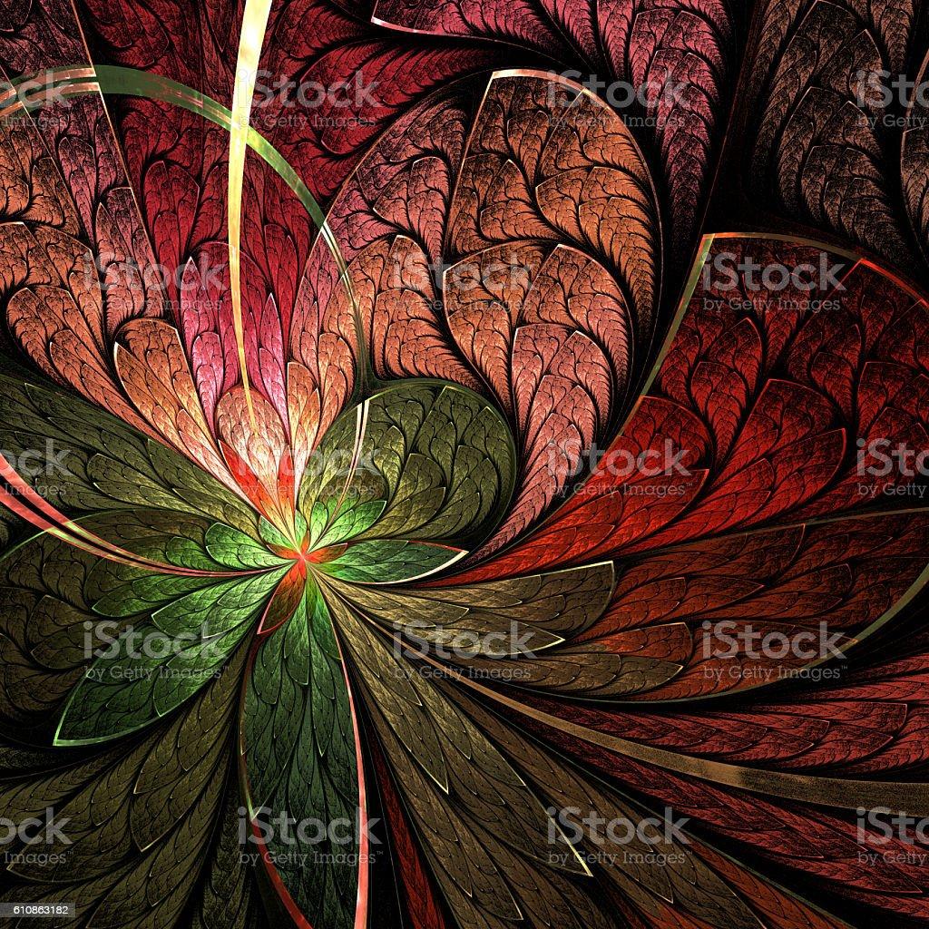 Asymmetrical fractal flower in stained-glass window style. vector art illustration