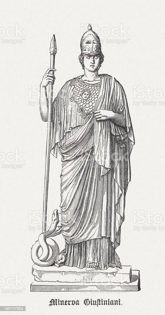 Athena Giustiniani (or Giustiniani Minerva), published in 1878 vector art illustration