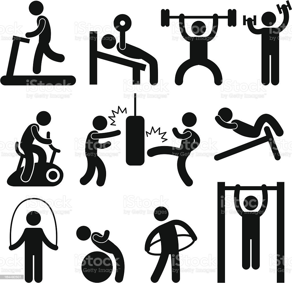 Athletic Gym Gymnasium Exercise Pictogram vector art illustration