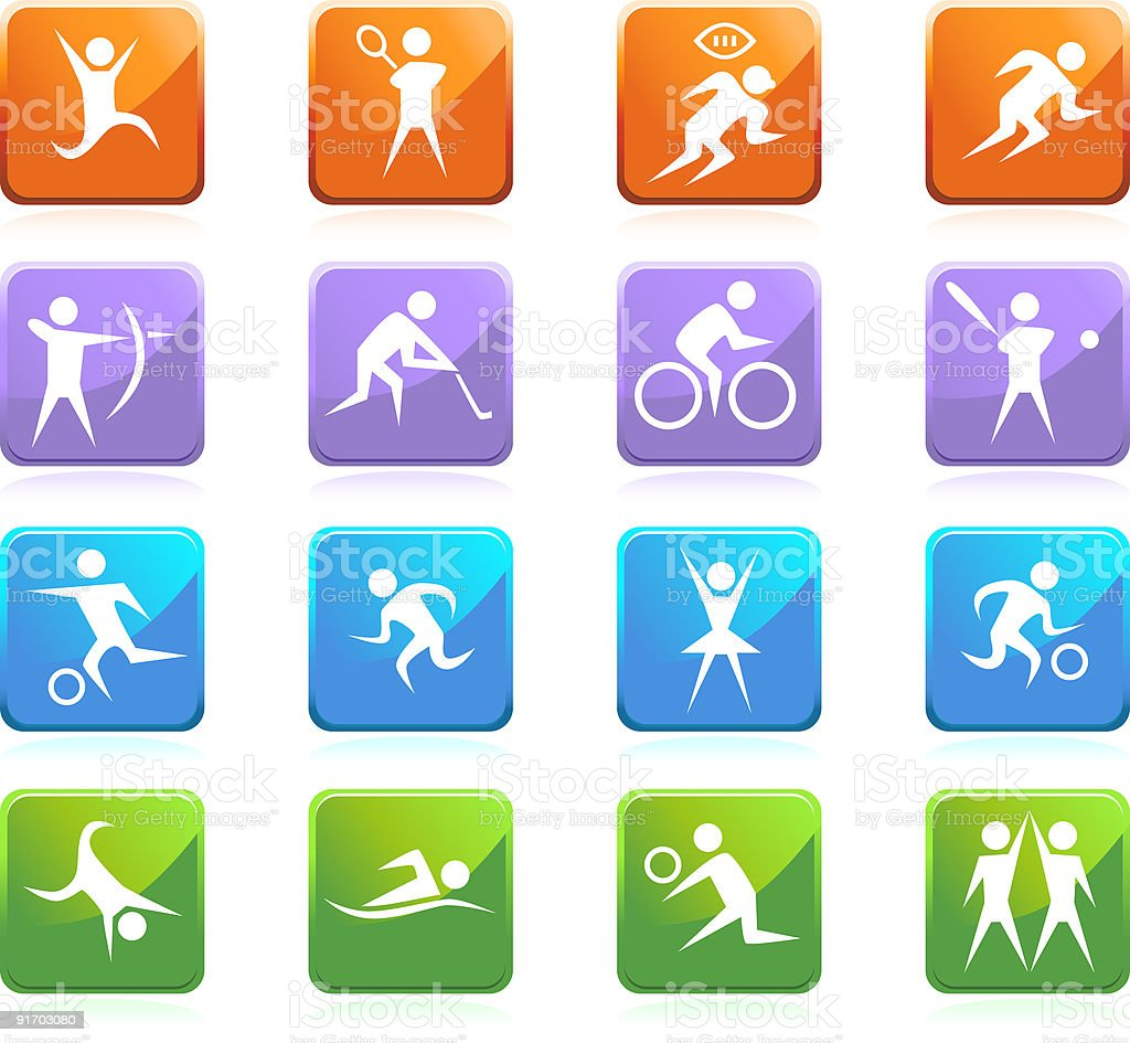 Athletic Square Glossy Buttons royalty-free stock vector art