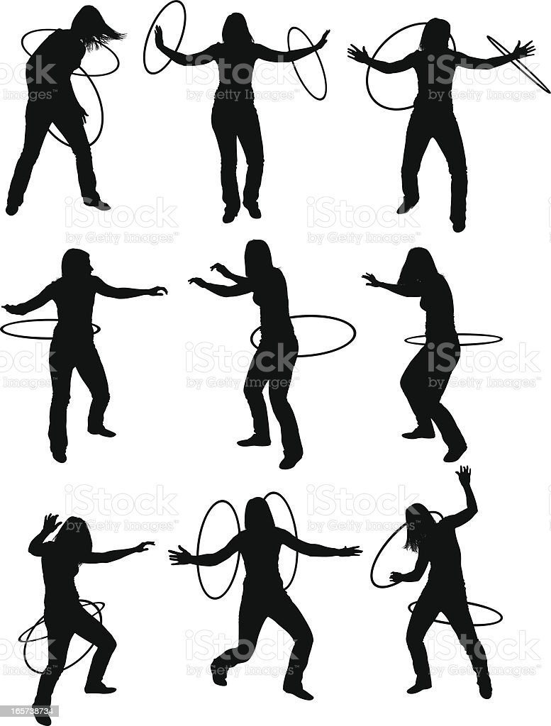 Athletic women with hula hoops vector art illustration
