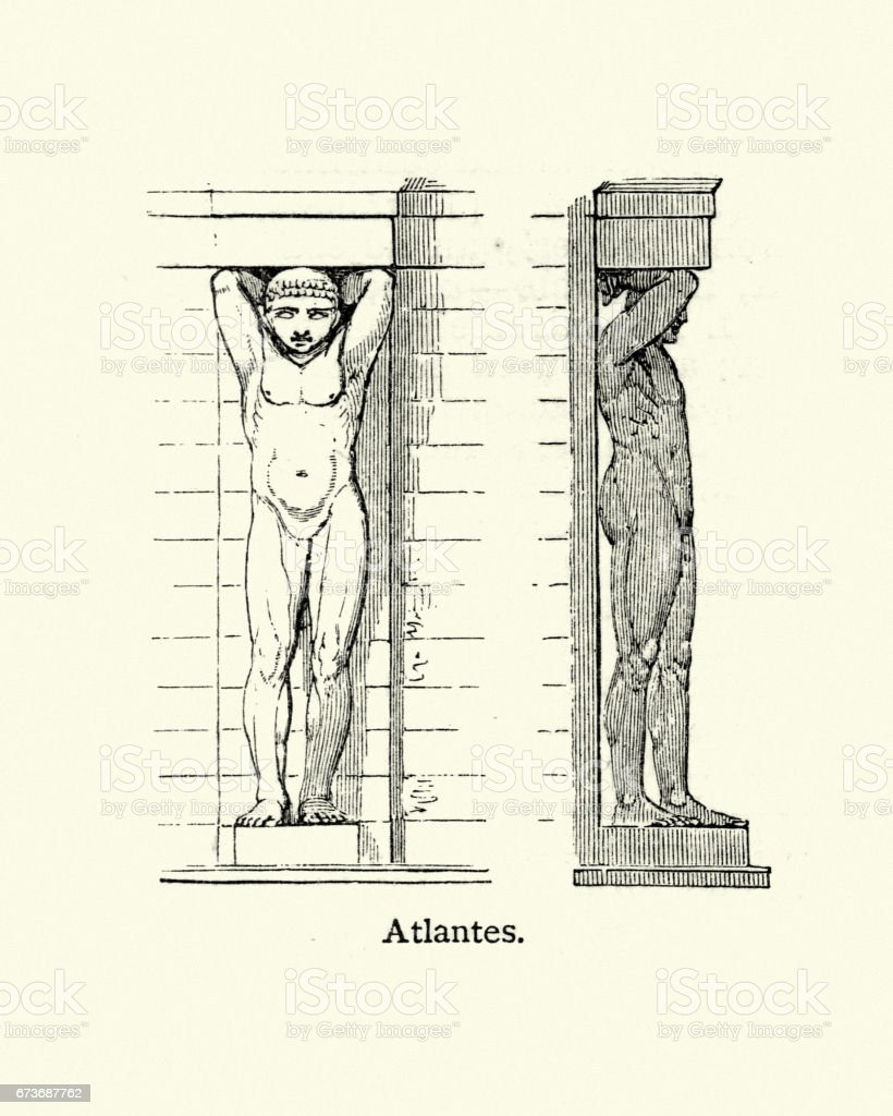 Atlantes - Atlas (architecture) vector art illustration