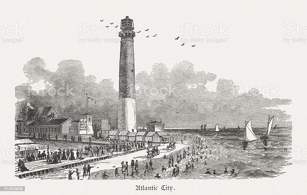 Atlantic City, New Jersey, USA, wood engraving, published in 1880 vector art illustration