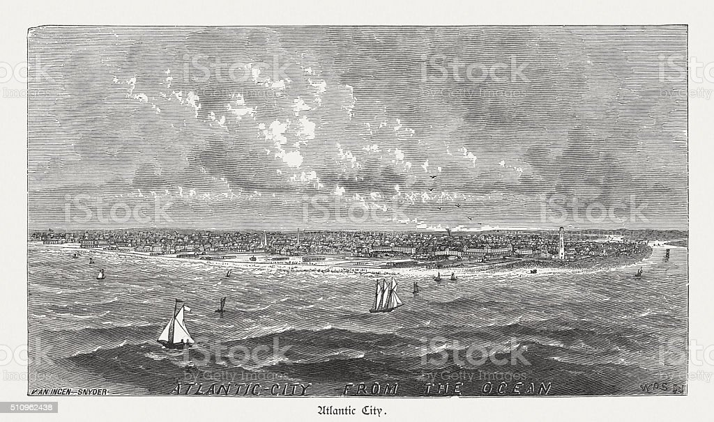 Atlantic City, New Jersey, wood engraving, published in 1880 vector art illustration