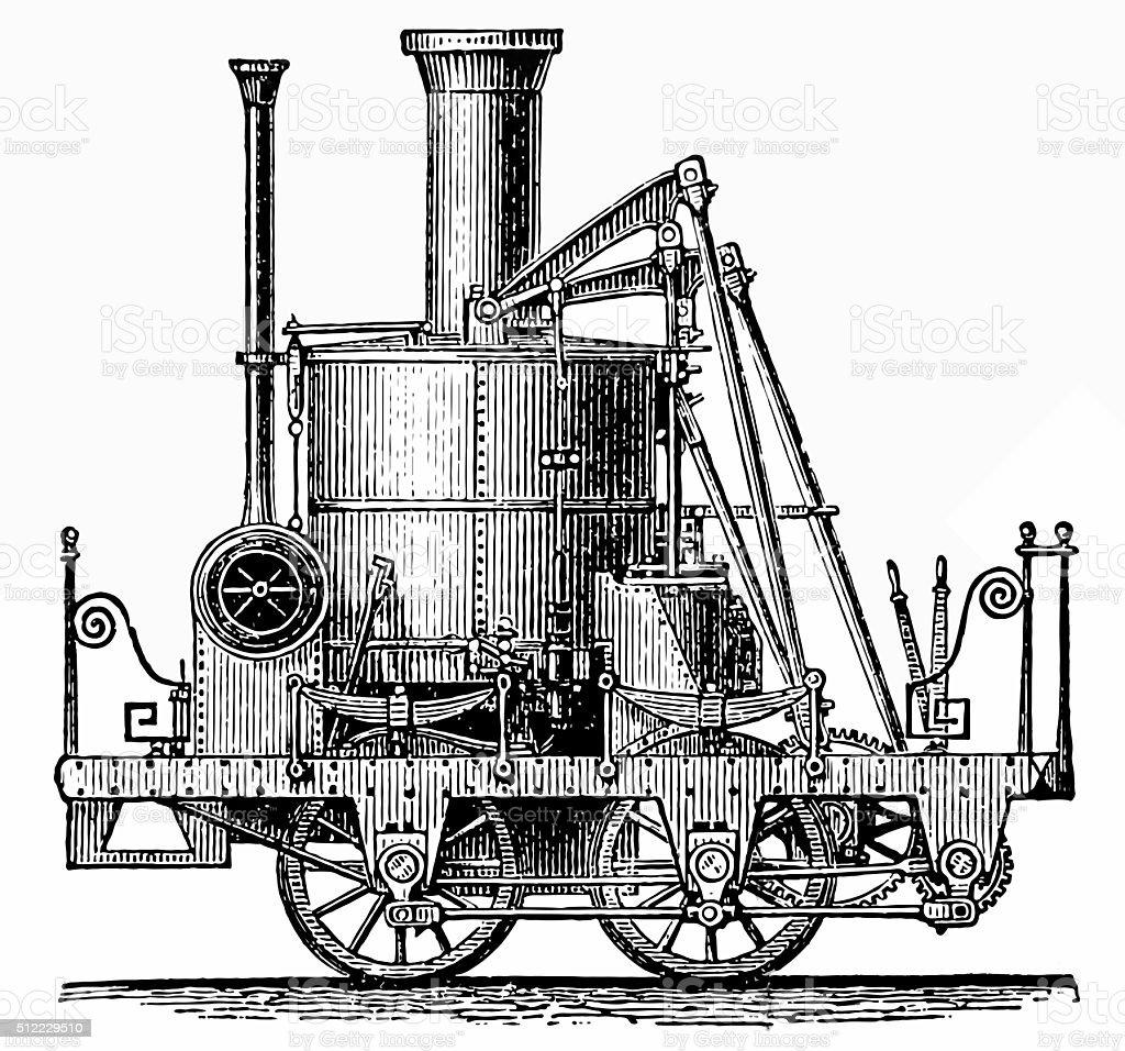 'Atlantic' locomotive vector art illustration