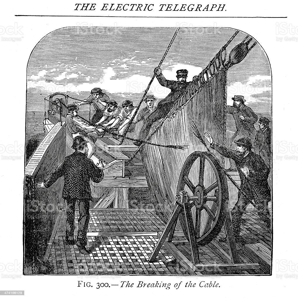 Atlantic Telegraph Cable, 1866 vector art illustration