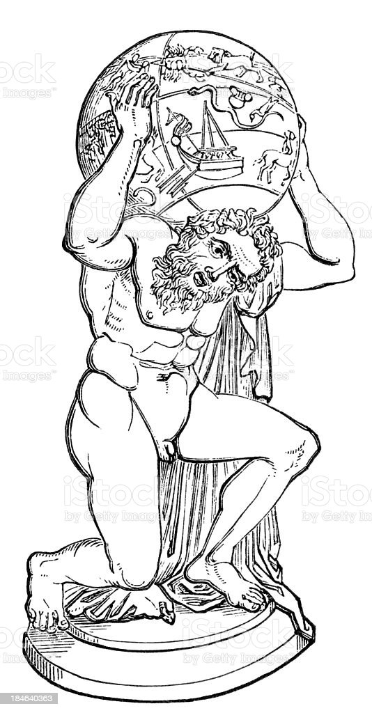 Atlas. Farnese collection. Naples. royalty-free stock vector art