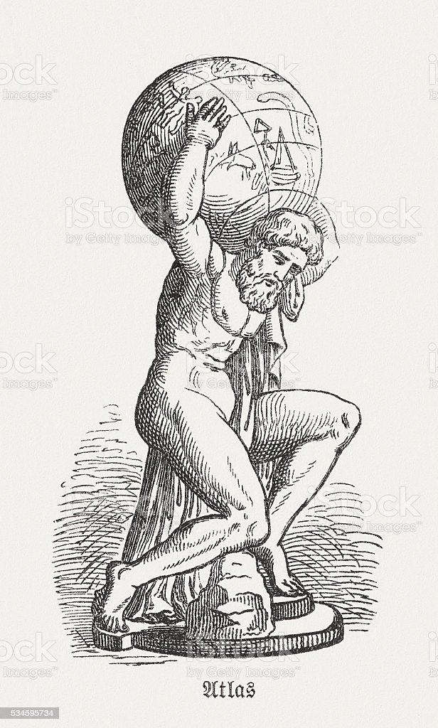 Atlas, figure of the Greek mythology, wood engraving, published 1880 vector art illustration