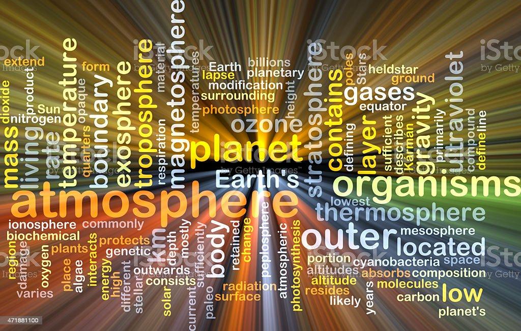 Atmosphere wordcloud concept illustration glowing vector art illustration