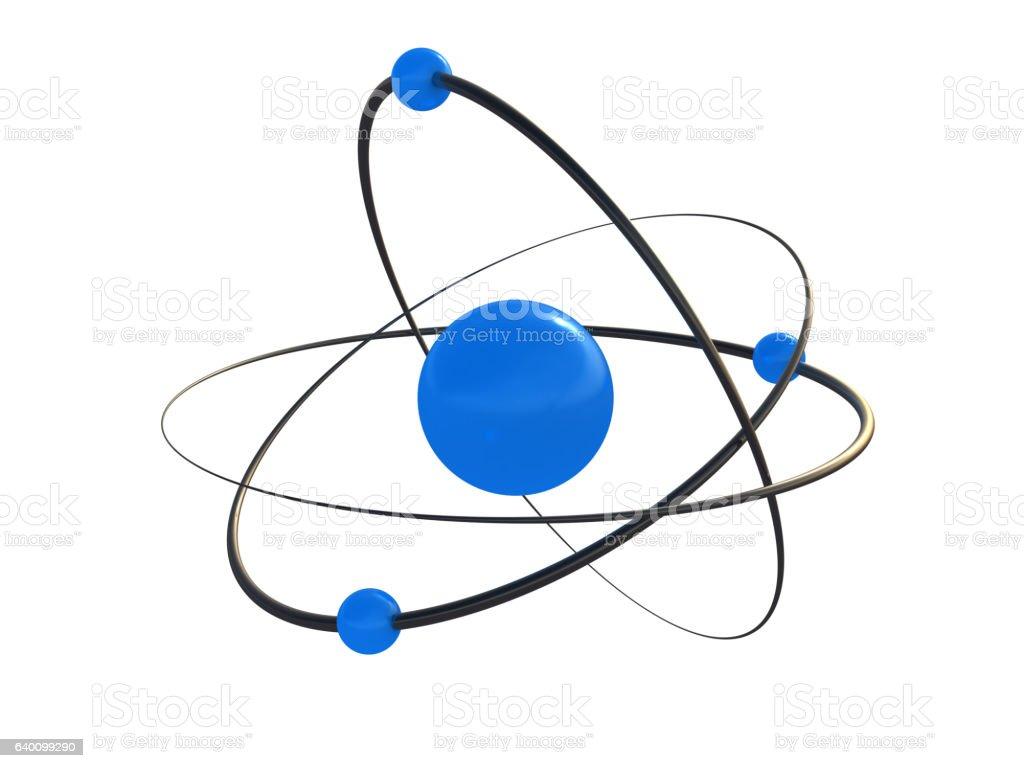 Atom, molecule, orbit, blue vector art illustration