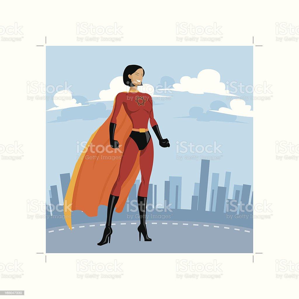 Atom Superhero Woman royalty-free stock vector art