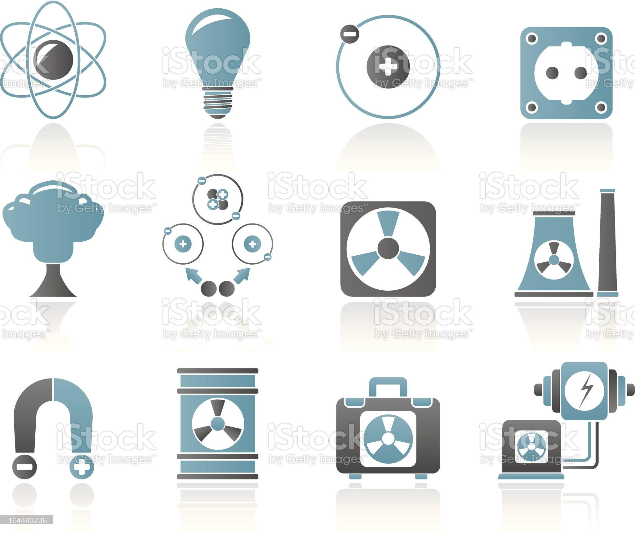 Atomic and Nuclear Energy Icons royalty-free stock vector art