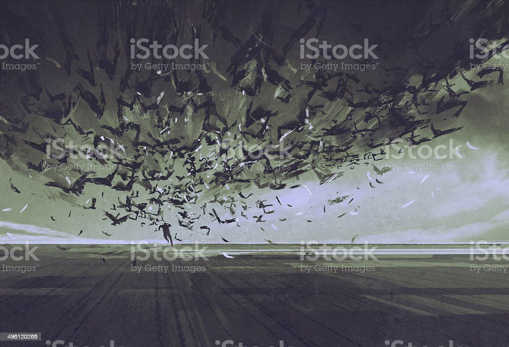 attack of crows,man running away from flock of birds vector art illustration