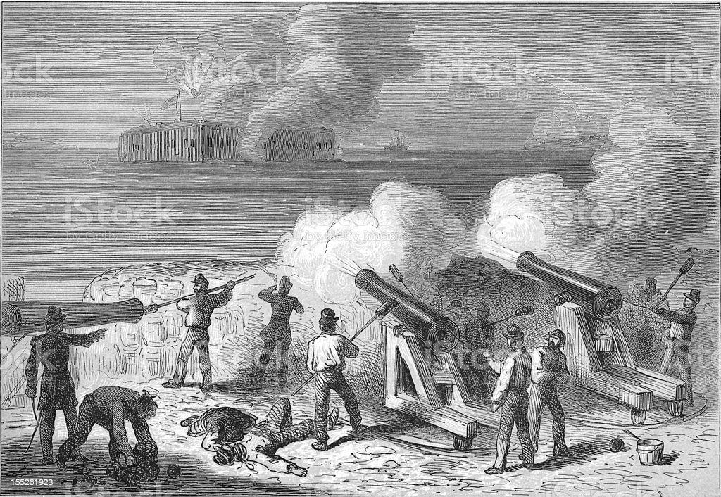 Attack on Fort Sumter - American Civil War Engraving vector art illustration