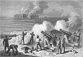 Attack on Fort Sumter - American Civil War Engraving
