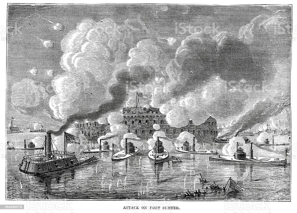 Attack on Fort Sumter vector art illustration