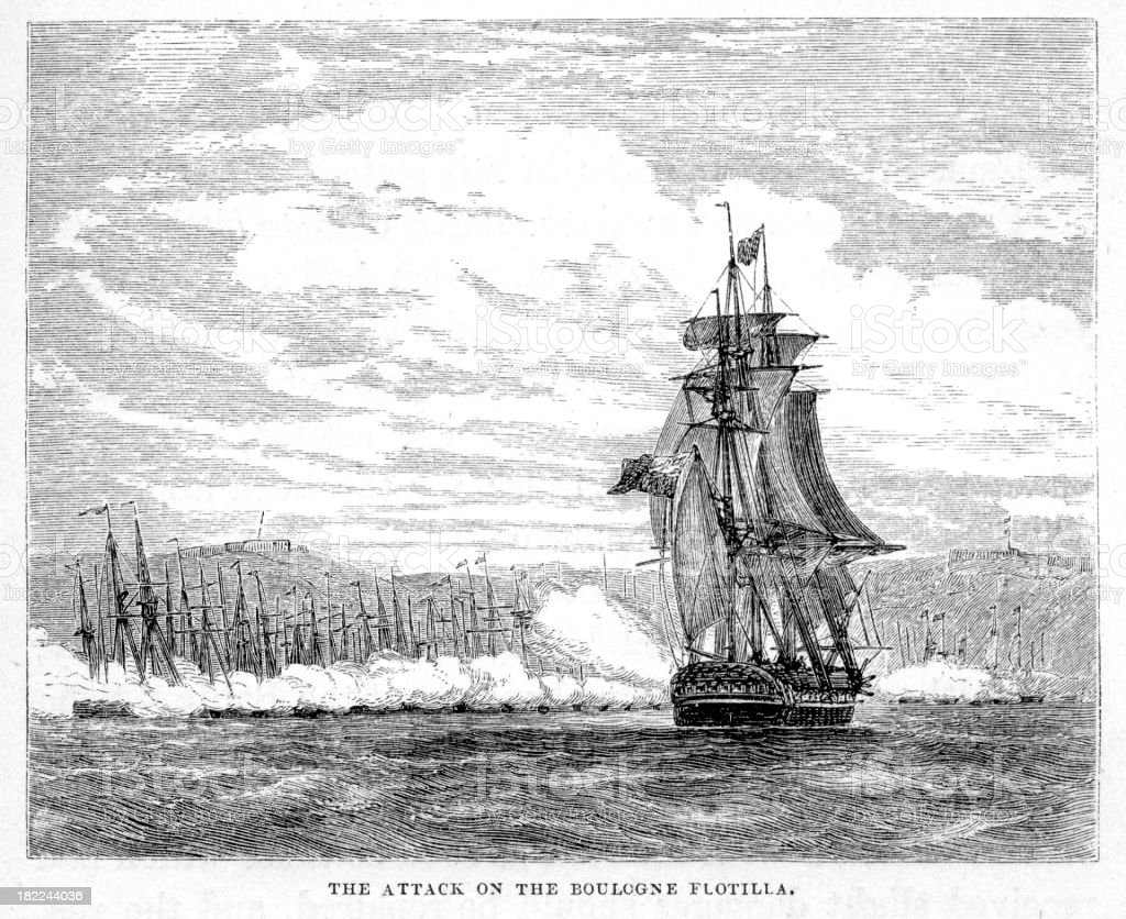 Attack on the Boulogne Flotilla royalty-free stock vector art