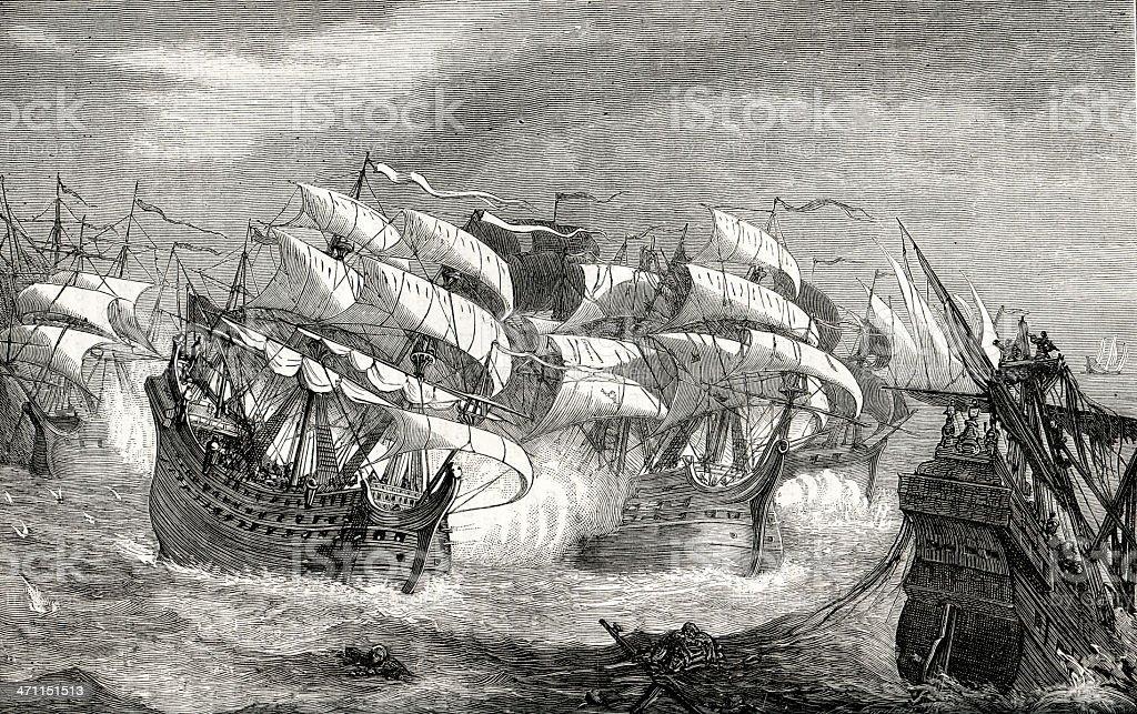 Attacking the treasure ship royalty-free stock vector art