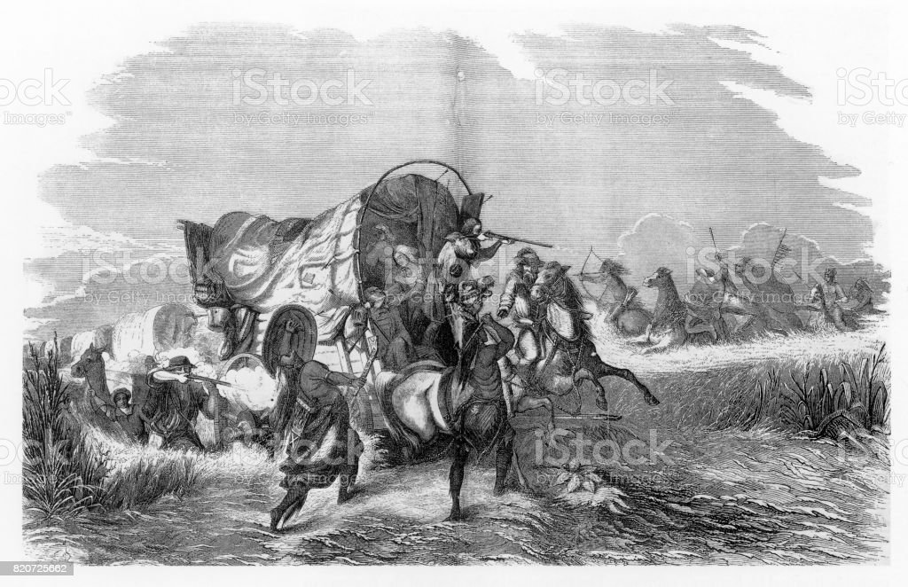 Attacking US Immigrants, American Indians Engraving, 1884 vector art illustration
