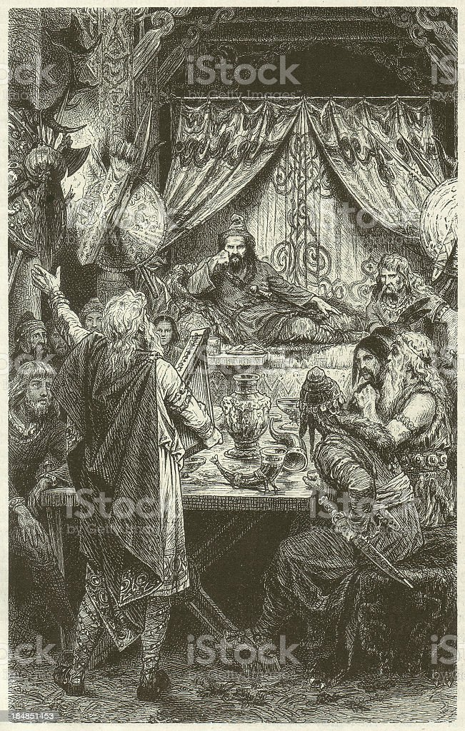 Attila (King of the Huns, ?-453), wood engraving, published 1880 royalty-free stock vector art