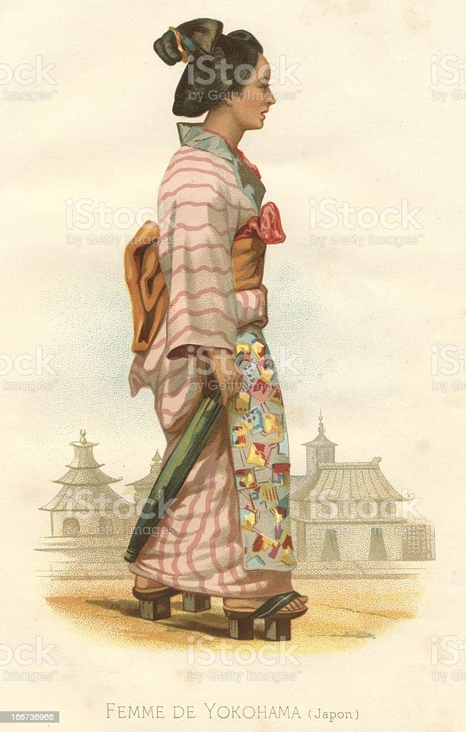 Attractive woman femme de Yokohama Japan 19th century vector art illustration