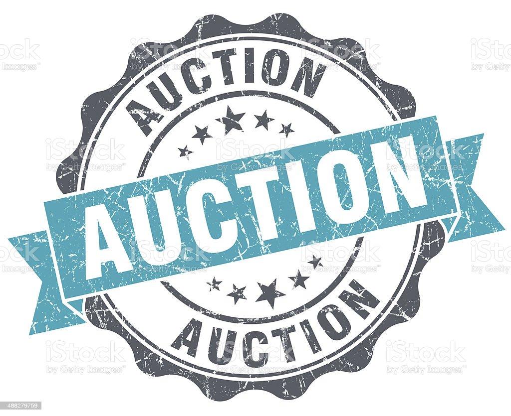 Auction blue grunge retro style isolated seal vector art illustration