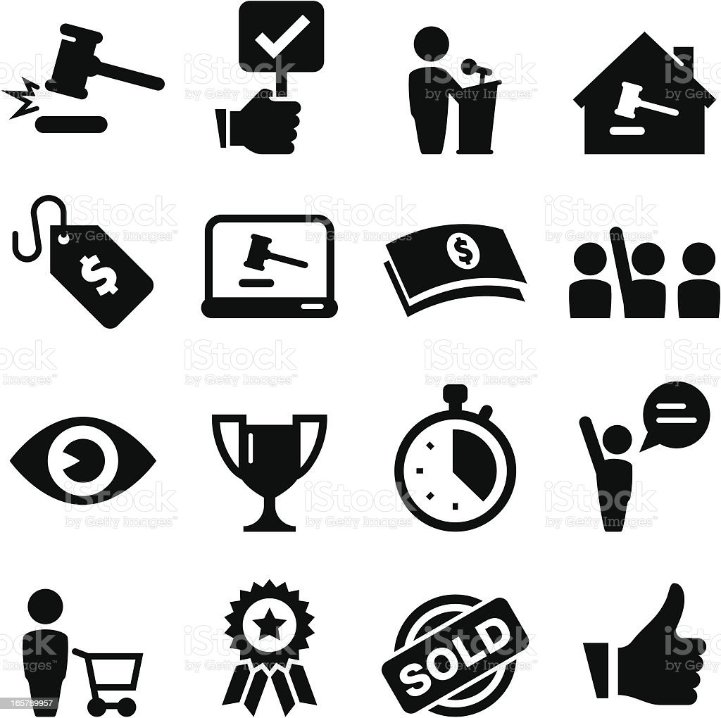 Auction Icons - Black Series vector art illustration