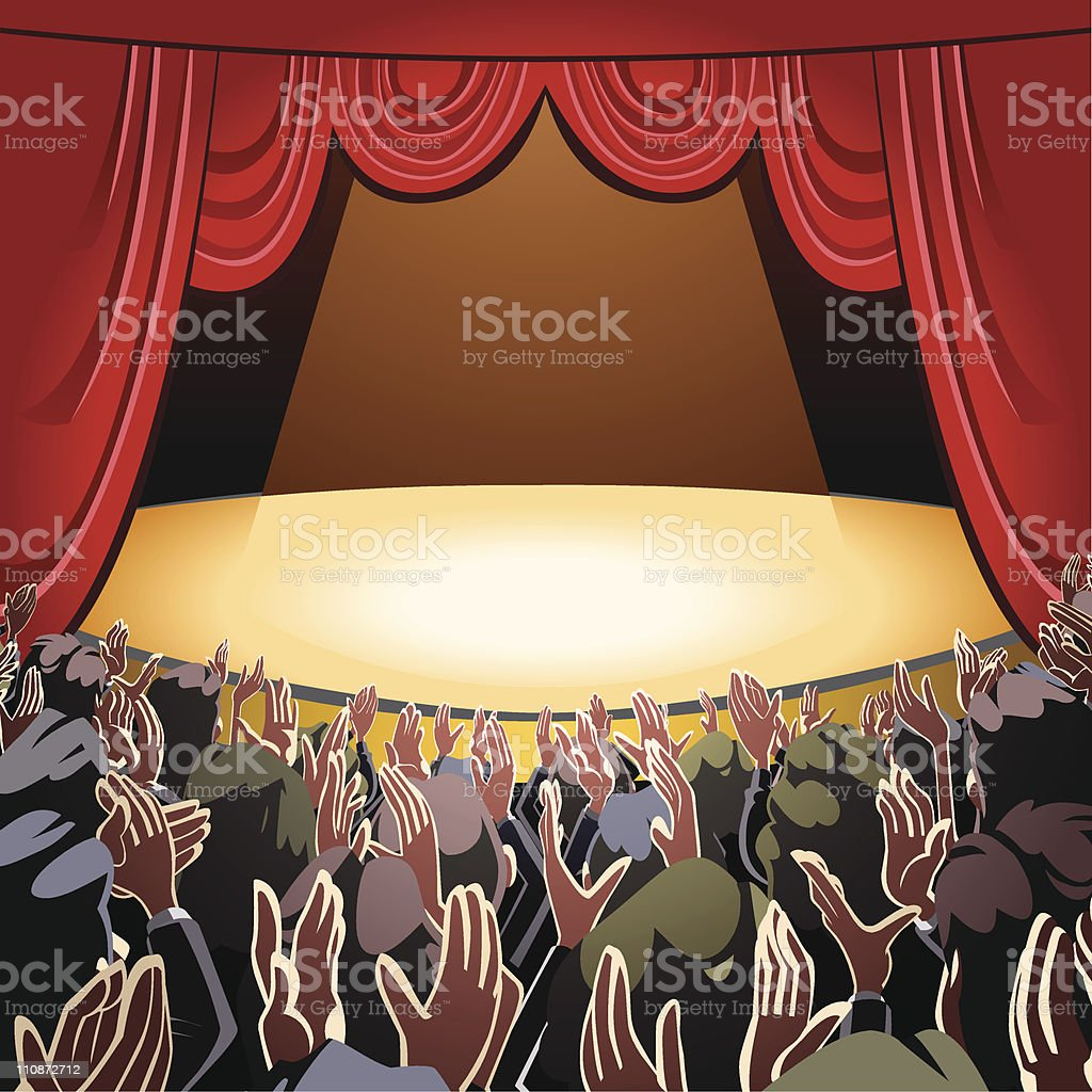 Audience applauding and empty stage vector art illustration