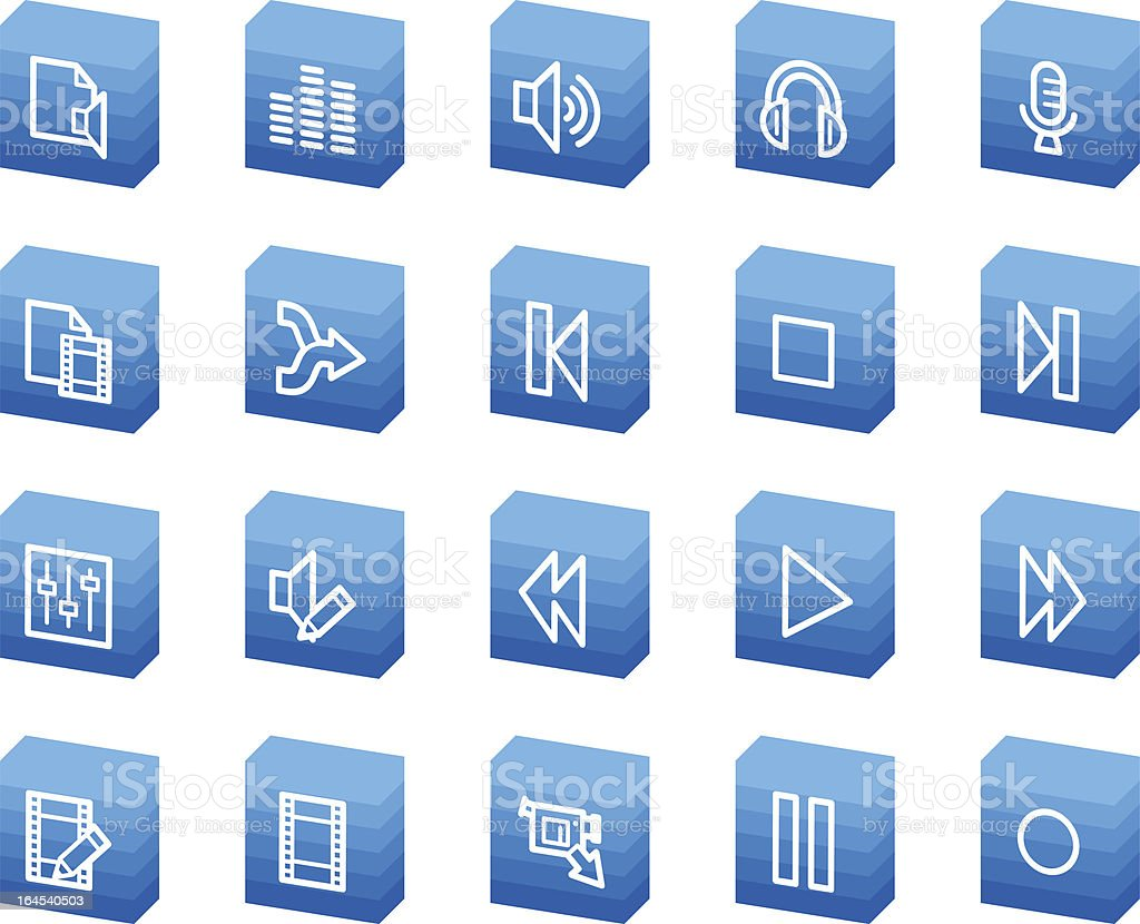 Audio video edit web icons, blue box series royalty-free stock vector art
