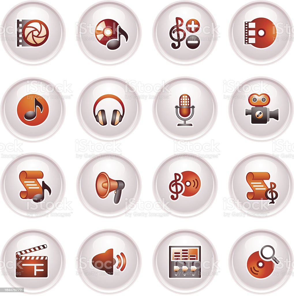 Audio video icons. Black red series. royalty-free stock vector art