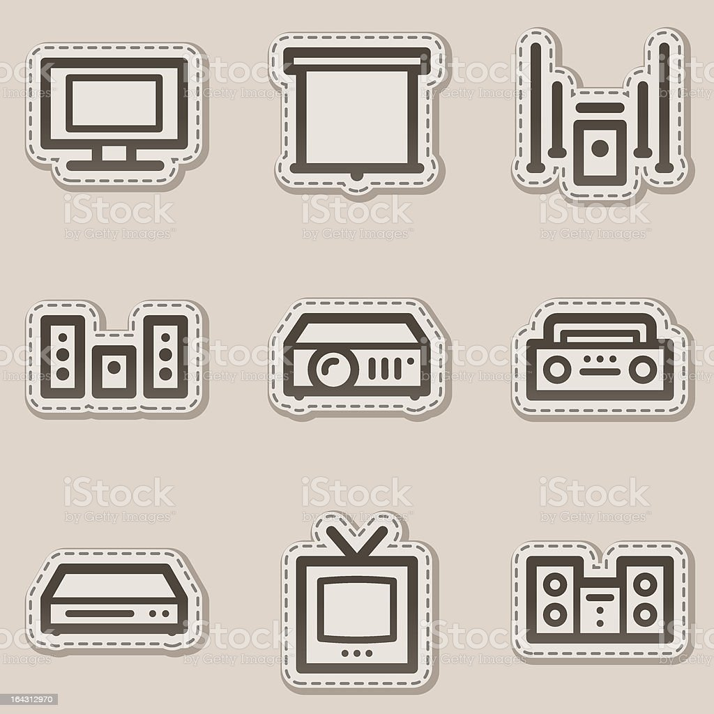 Audio video web icons, brown contour sticker series royalty-free stock vector art