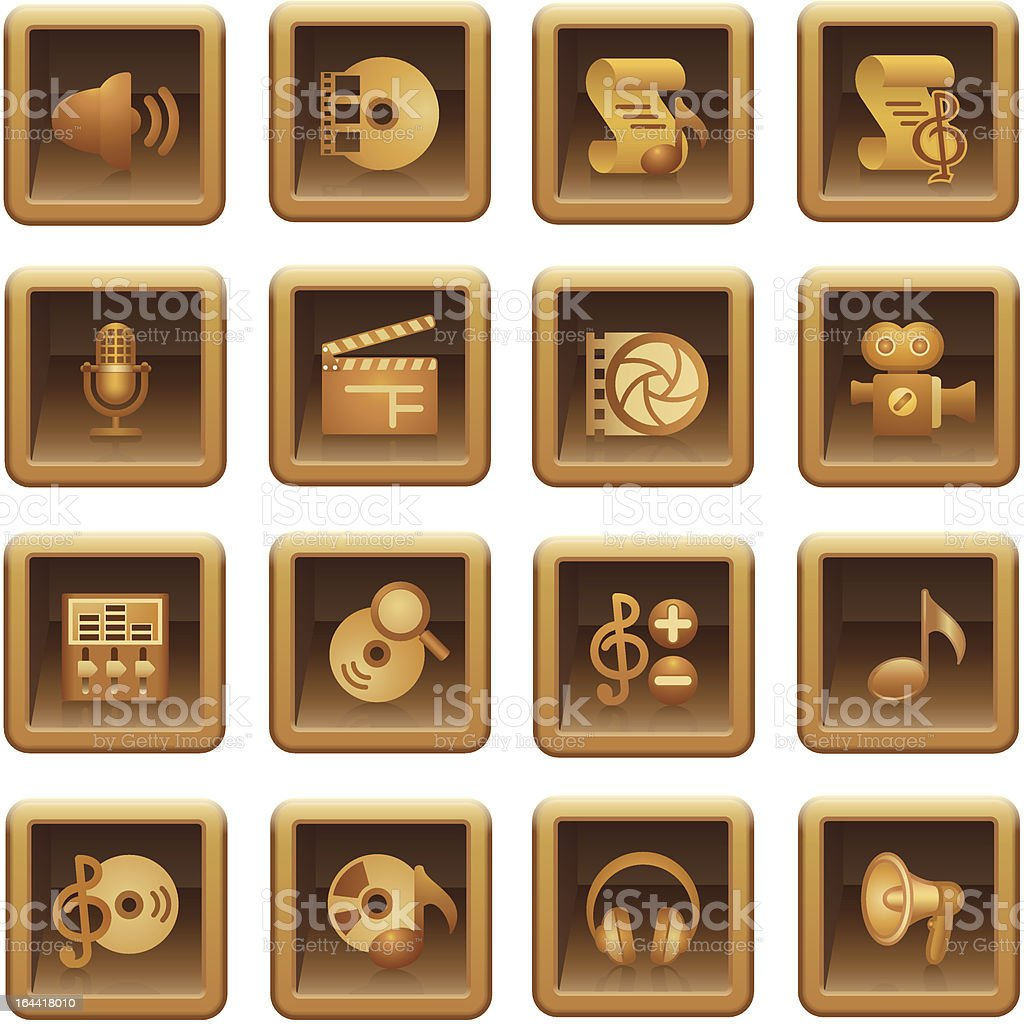 Audio video web icons. Brown series. royalty-free stock vector art