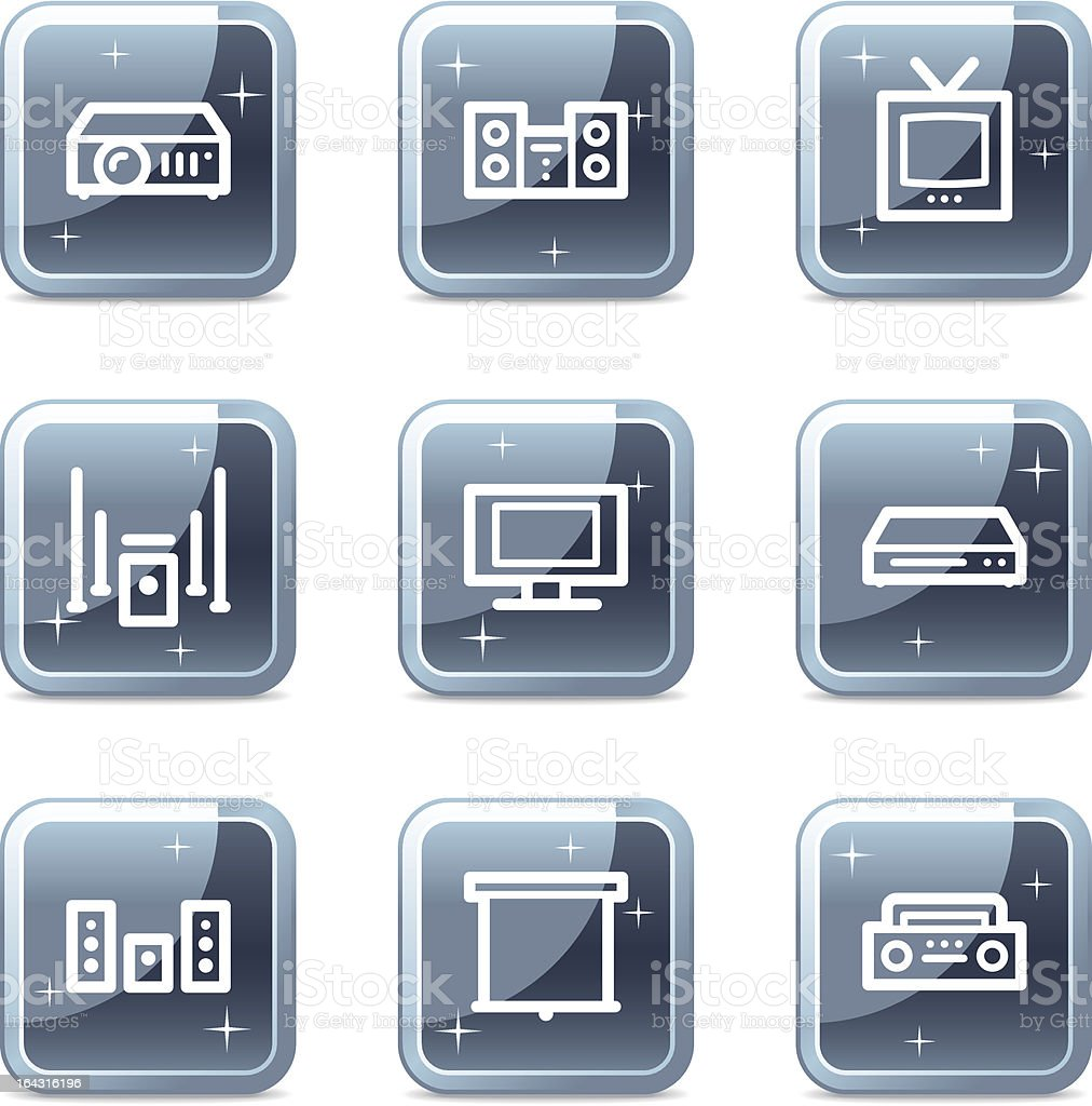 Audio video web icons, square blue mineral buttons series vector art illustration