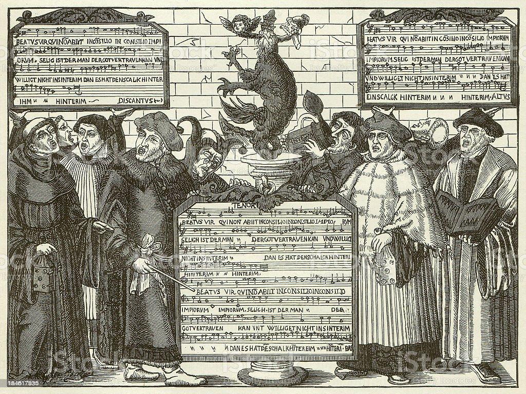 Augsburg Interim, Regulation by Emperor Charles V, published in 1881 vector art illustration