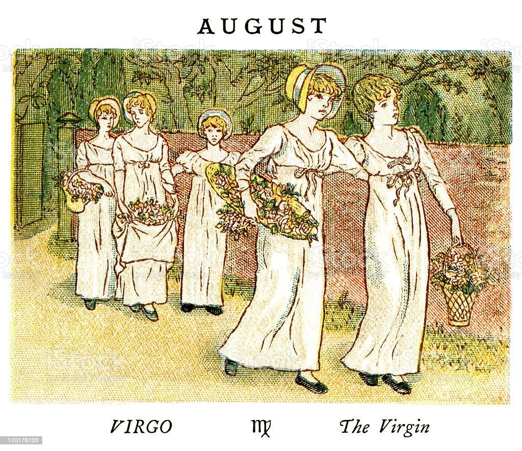 August - Kate Greenaway, 1884 vector art illustration