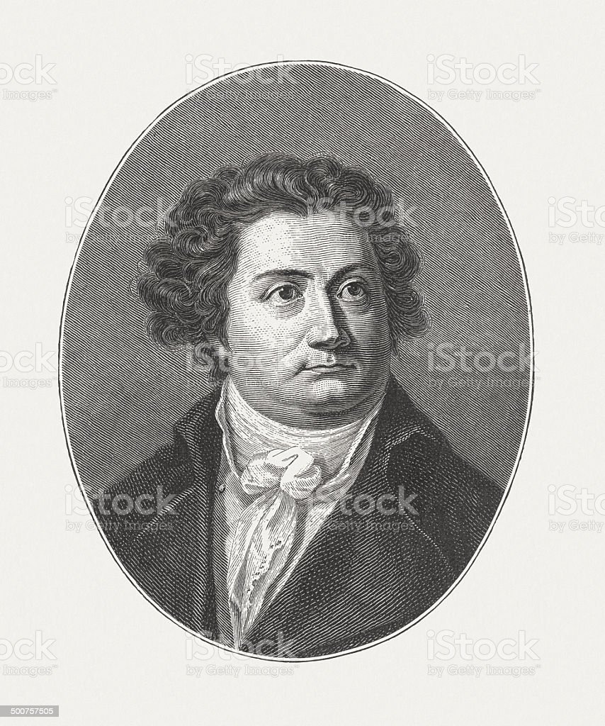 August Wilhelm Iffland (1759-1814), German actor, wood engraving, published 1882 royalty-free stock vector art